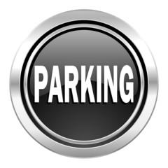 parking icon, black chrome button