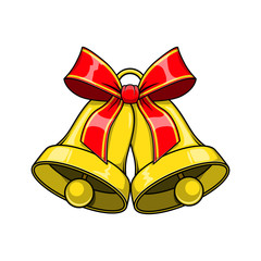 Christmas decorative bells with red bow.