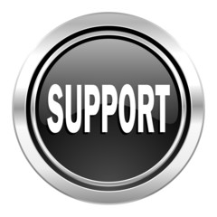 support icon, black chrome button
