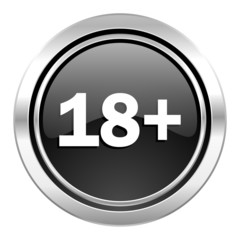 adults icon, black chrome button
