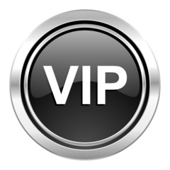vip icon, black chrome button