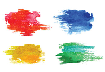 Colorful vector watercolor design elements.