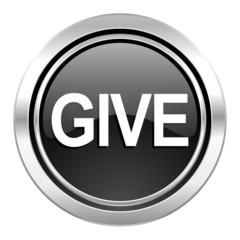 give icon, black chrome button