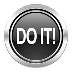 do it icon, black chrome button