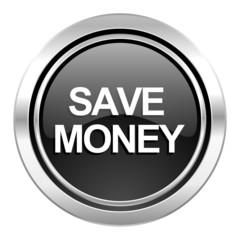 save money icon, black chrome button