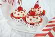 Christmas holiday red and white theme red velvet cupcakes.