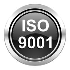iso 9001 icon, black chrome button