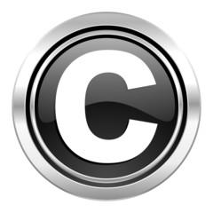 copyright icon, black chrome button