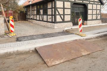 Strassenbau - Eine provisorische Zufahrt zu einem Grundstück