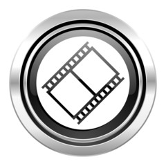 film icon, black chrome button, movie sign, cinema symbol
