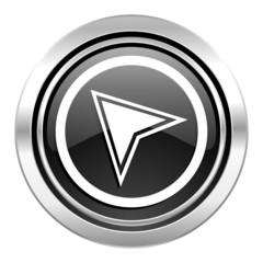 navigation icon, black chrome button