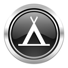camp icon, black chrome button