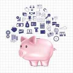 Piggy bank business illustration icon set