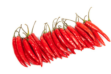 Row of Bright Red Shiny Hot Chillies