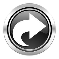 next icon, black chrome button, arrow sign