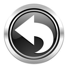 back icon, black chrome button, arrow sign