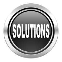 solutions icon, black chrome button