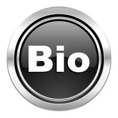 bio icon, black chrome button