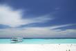 canvas print picture - Paradiesischer Strand mit Boot