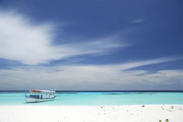 Paradiesischer Strand mit Boot