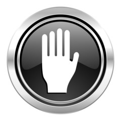 stop icon, black chrome button, hand sign