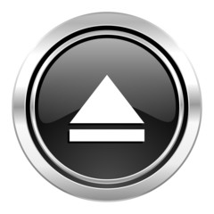 eject icon, black chrome button, open sign