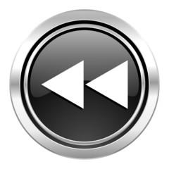 rewind icon, black chrome button