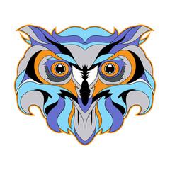 Owl head vector illustration isolated