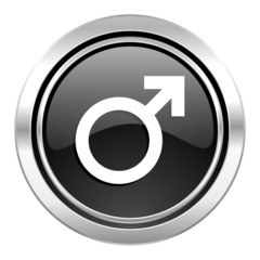 male icon, black chrome button, male gender sign