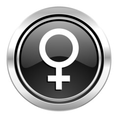 female icon, black chrome button, female gender sign