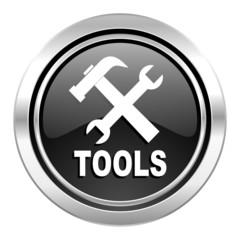 tools icon, black chrome button