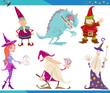 Obrazy na płótnie, fototapety, zdjęcia, fotoobrazy drukowane : Cartoon Fantasy Characters Set