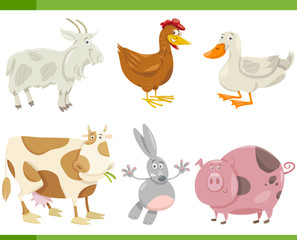 farm animals cartoon set illustration