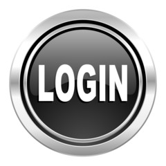 login icon, black chrome button