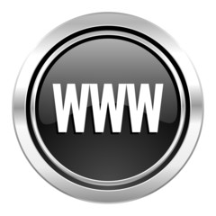 www icon, black chrome button