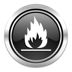 flame icon, black chrome button