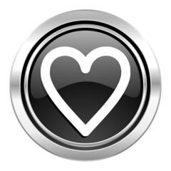 heart icon, black chrome button, love sign