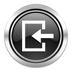 enter icon, black chrome button