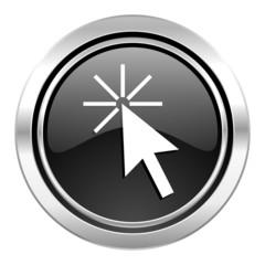 click here icon, black chrome button