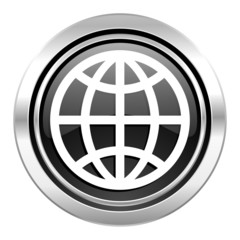 earth icon, black chrome button
