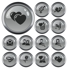 Love and dating button set