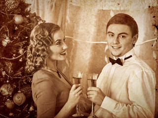 Couple on Christmas party.