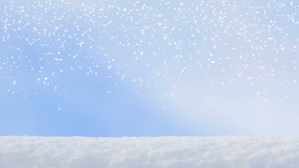 motion of winter snowflake snowfall on a blue sky backgrounds