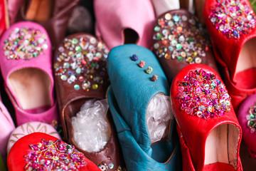 Oriental shoes, souk in Maroc