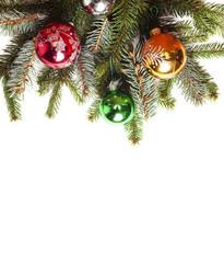 Blank Christmas card with pine needles and Christmas balls
