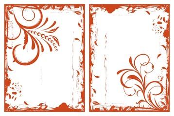 autumn grunge floral frames