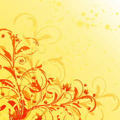 Autumn floral grunge background