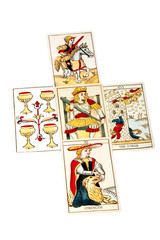 Tarot Cards Set Out in Five Spread