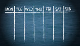 Weekly Calendar on blue chalkboard background