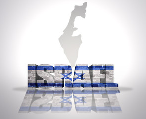 Word Israel on a map background